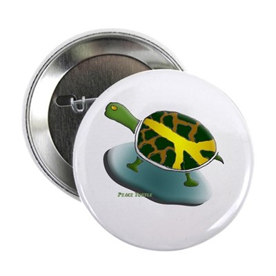 Peace Turtle Metal Pinback Button