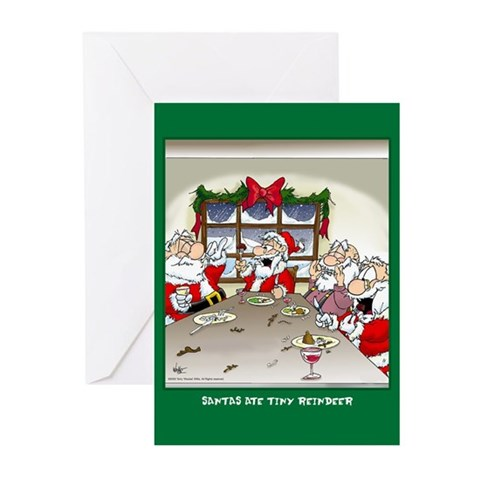 Ate Reindeer Xmas Cards Greeting Cards 10 Pk Funny Greeting Cards Pk of 10 by CafePress
