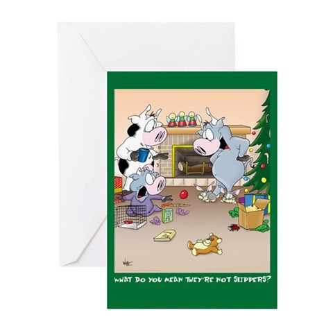 Not Slippers? Xmas Cards Greeting Cards 10 Pk Funny Greeting Cards Pk of 10 by CafePress