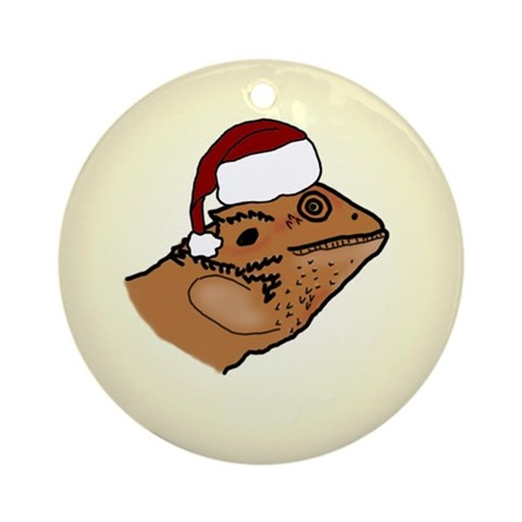 Santa Bearded Dragon Ornament Pets Round Ornament by CafePress