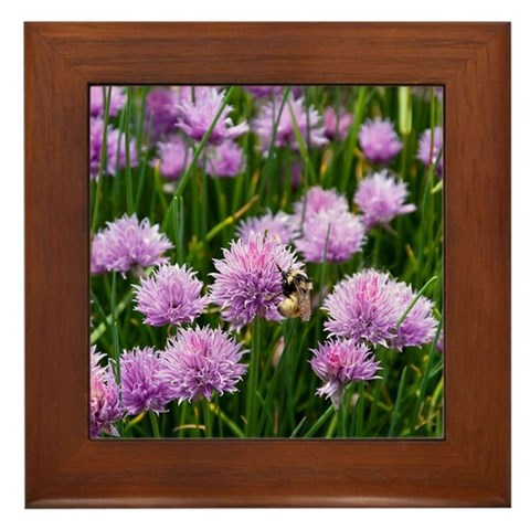 - Purple Clover Bee Framed Tile by CafePress