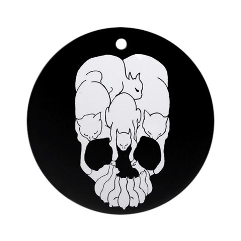 Cat Skull Ornament Round Japanese Round Ornament by CafePress