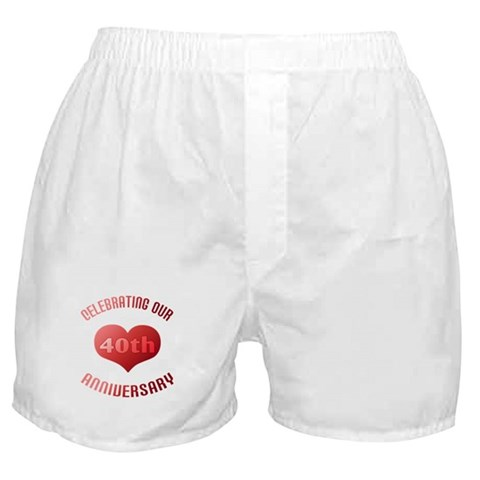 40th Anniversary Heart Gift  Cute Boxer Shorts by CafePress