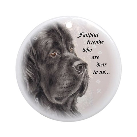 Newfoundland Faithful Friends Ornament Round Pets Round Ornament by CafePress
