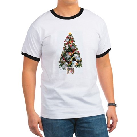 Merry Maltese Christmas Shop Dogs Ringer T by CafePress