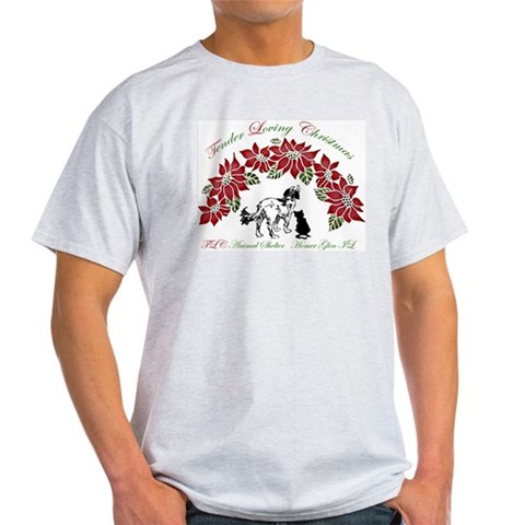 Pointsettia dog cat Ash Grey T-Shirt Pets Light T-Shirt by CafePress