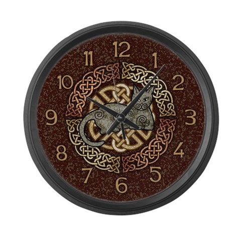 Celtic Cat  Pets Large Wall Clock by CafePress