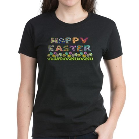 Product Image of Happy Easter Egg Flowers Women's Dark T-Shirt