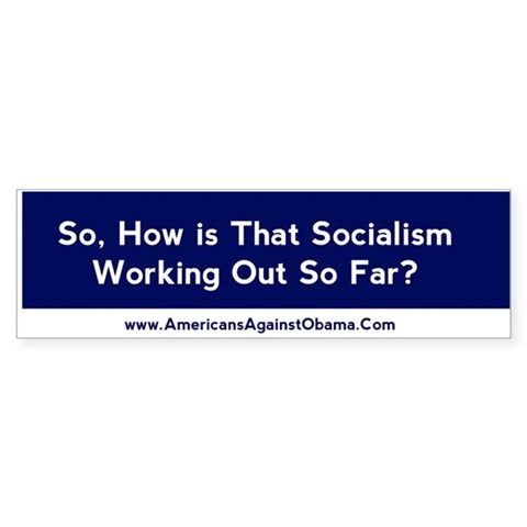So, how is that socialism working/ Bumper 10 pk Conservative Bumper Sticker 10 pk by CafePress