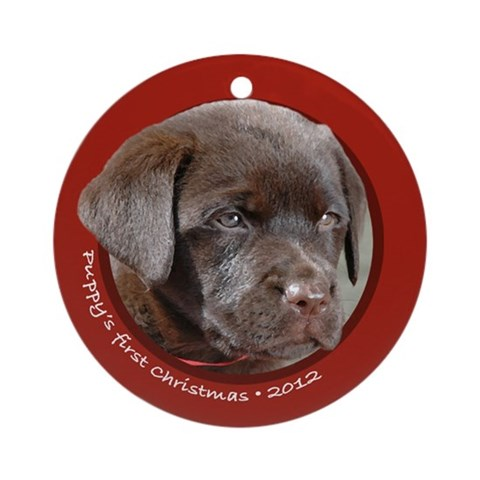 Lab Puppy's 1st Christmas Round Red Ornament Pets Round Ornament by CafePress