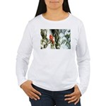 Cardinal In Winter Pine Tree Snow Long Sleeve T-Sh