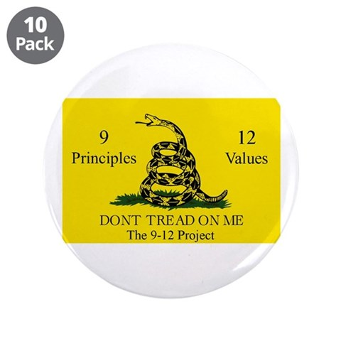 Don't Tread on Me 9-12 3.5quot; Button 10 pack Flag 3.5 Button 10 pack by CafePress