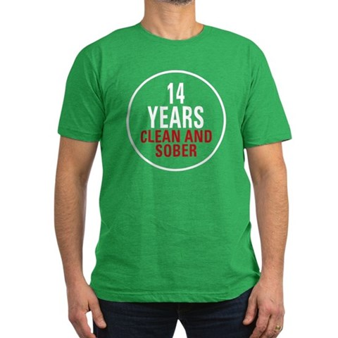 14 Years Clean  Sober  Alcohol Men's Fitted T-Shirt dark by CafePress