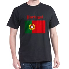 Portugal Flag Black T-Shirt
