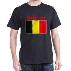 Belgian Flag Black T-Shirt