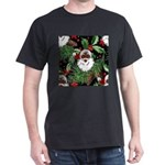 xmas holly black santa claus T-Shirt