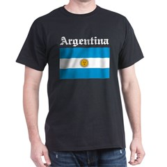 Argentina Flag Black T-Shirt