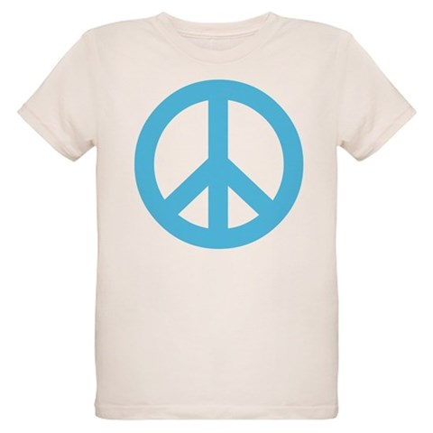 Blue Peace Sign  Vintage Organic Kids T-Shirt by CafePress