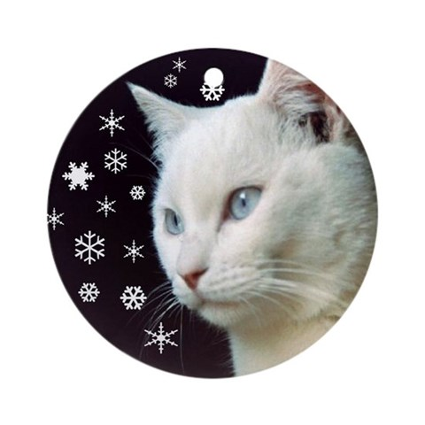 White Cat Snowflakes Ornament Pets Round Ornament by CafePress