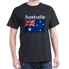 Australia Flag Black T-Shirt