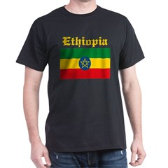 Ethiopian Flag Black T-Shirt