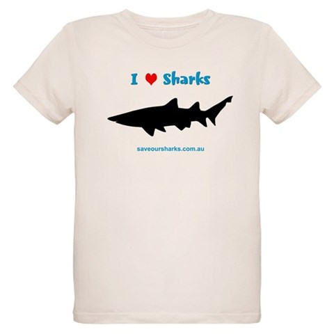'I Love Sharks'  Sharks Organic Kids T-Shirt by CafePress
