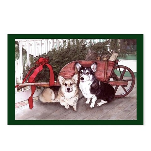 Pembroke Welsh Corgi Christmas Postcards 8 pack Pets Postcards Package of 8 by CafePress