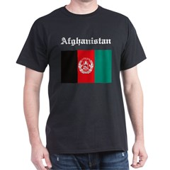 Afghanistan Flag Black T-Shirt