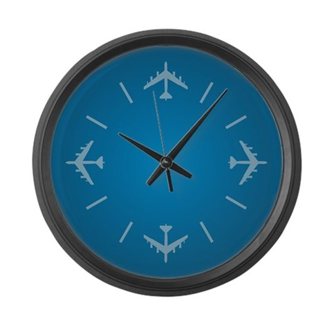 Airplane  Military Large Wall Clock by CafePress