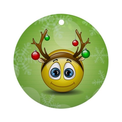 Reindeer Ornament Round Cute Round Ornament by CafePress