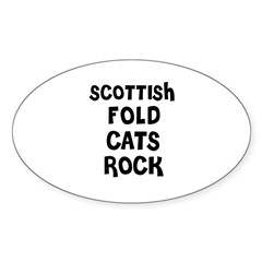 SCOTTISH FOLD CATS ROCK Sticker (Oval)
