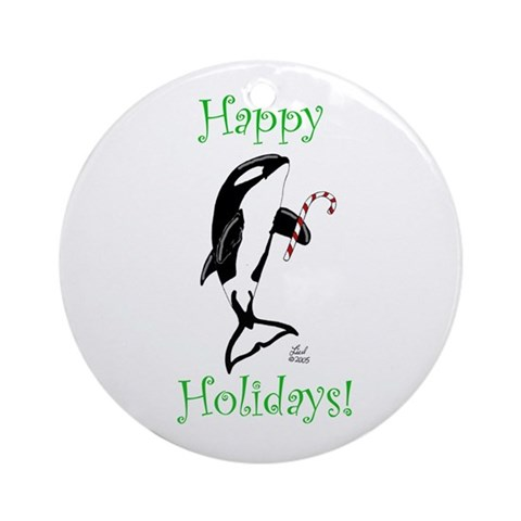 Christmas Killer Whale Ornament Round Nature Round Ornament by CafePress