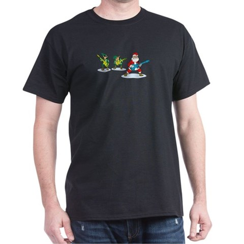 Santa elves band Musicial Christmas Black T-Shirt Dark T-Shirt by CafePress