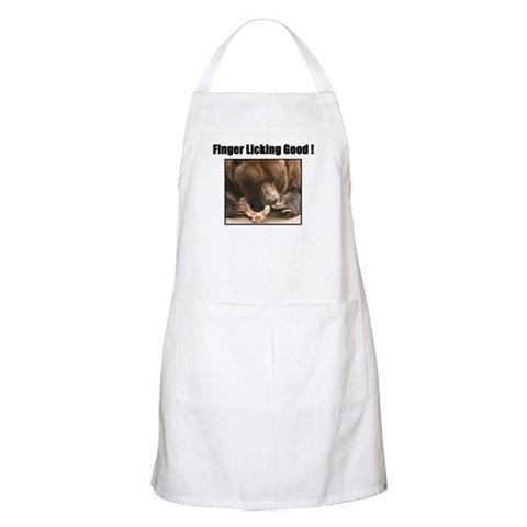'Finger Licking Good' BBQ  Bear Apron by CafePress