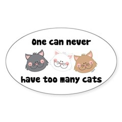 Never Too Many Cats Sticker (Oval)