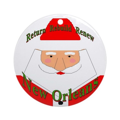 Rebuild New Orleans Santa Ornament Round Christmas Round Ornament by CafePress