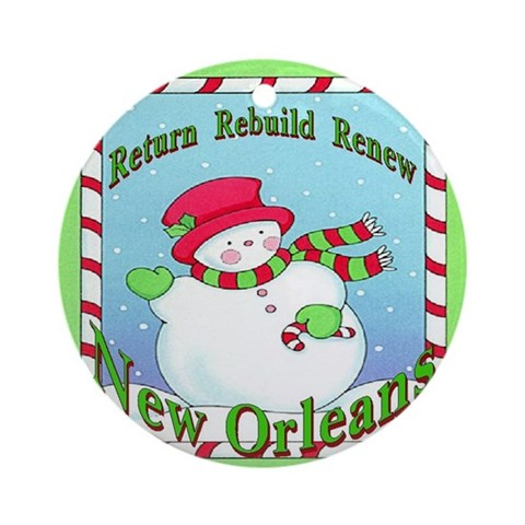 Rebuild New Orleans Snowman Ornament Round Christmas Round Ornament by CafePress