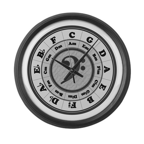 Bass Clef Circle of Fifths  Music Large Wall Clock by CafePress