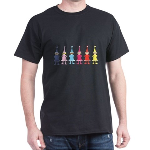 design amok elves Black T-Shirt Holiday Dark T-Shirt by CafePress
