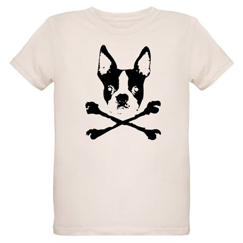 Boston Terrier Crossbones  Humor Organic Kids T-Shirt by CafePress