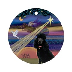 Christmas Star & Black Poodle Ornament (Round)