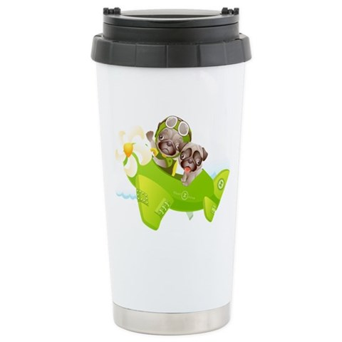 - When Pugs Fly Pets Ceramic Travel Mug by CafePress