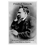 Friedrich Nietzsche Skeptical Big Poster Print. Philosophy, Science, Art, Music, Nature, Political, Propaganda, War Posters with Pictures & Quotes