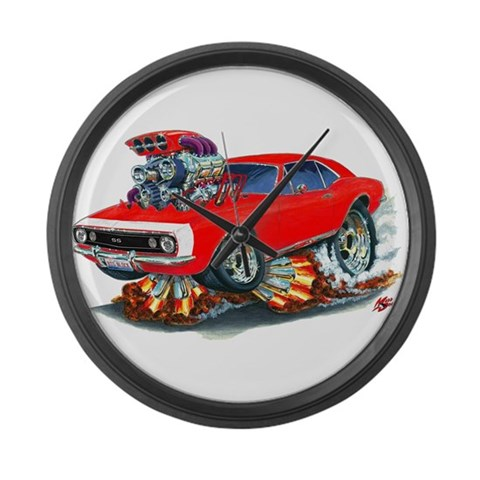 1967 Camaro Red/White Car  Art Large Wall Clock by CafePress