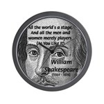Playwright William Shakespeare Wall Clock