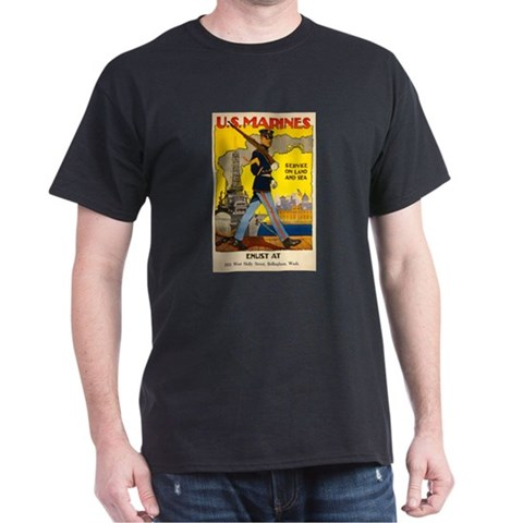US Marines Black T-Shirt military gift idea Military Dark T-Shirt by CafePress