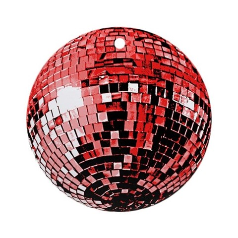 Red Disco Ball Ornament Round Music Round Ornament by CafePress