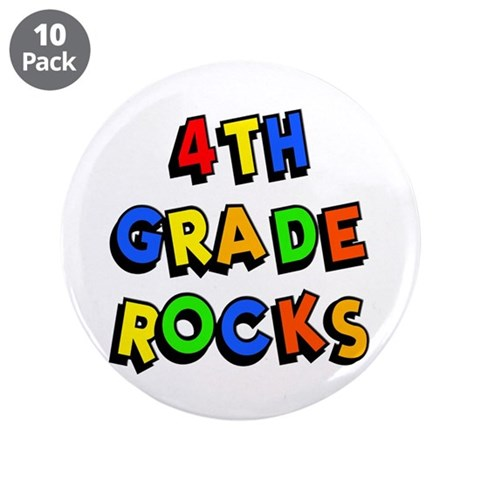 4th Grade Rocks  Books 3.5 Button 10 pack by CafePress