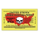 Zombie Hunting Permit,Stickers Rectangle Sticker - CafePress