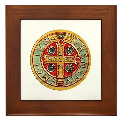 - Medal of St. Benedict Prayer Framed Tile by CafePress